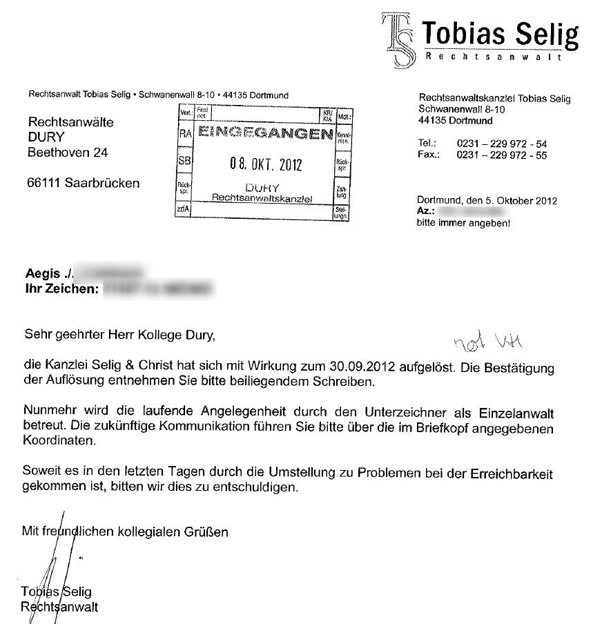 Rechtsanwalt Tobias Selig Selig Christ Abmahnkanzlei Löst Sich